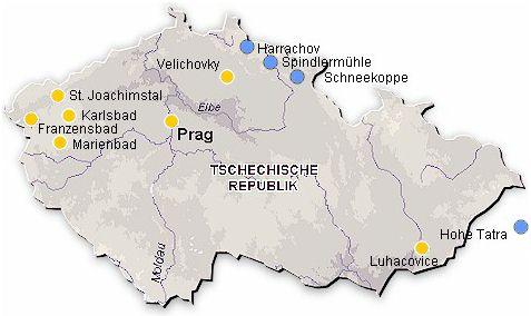 Karte Tschechien Reisen Kuren Hotels Wellness Beauty